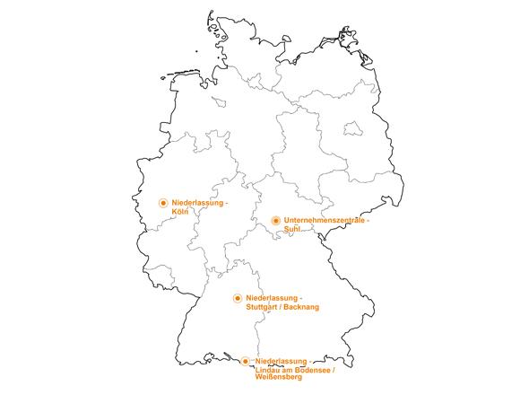 Deutschlandkarte | LUMIMAX Standorte