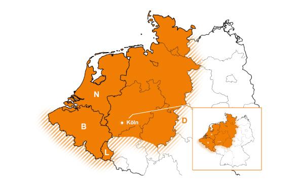Vertriebsgebiet Nordwest | Nordrhein-Westfalen, Niedersachsen, Hamburg, Bremen und Schleswig-Holstein sowie Benelux