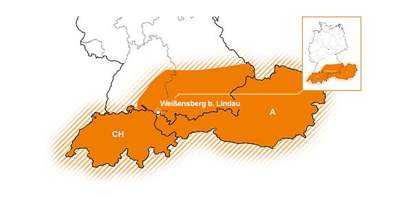 Vertriebsgebiet D-Sued, A, CH | Teil Baden-Wuerttemberg, Suedbayern, Oesterreich und Schweiz
