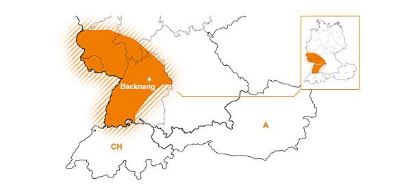 Vertriebsgebiet Suedwest | Baden-Wuerttemberg, Saarland, Rheinland-Pfalz und Suedhessen